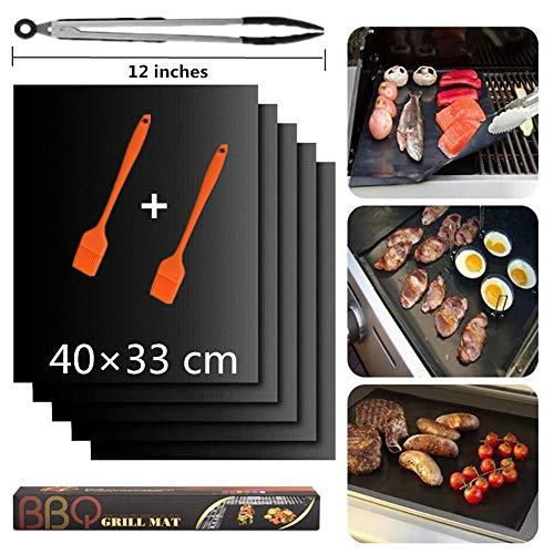 """BBQ Grillmatte, Grillmatten für gasgrill, Antihaft Grill-und Backmatte, Pflegeleicht und Wiederverwendbar, Perfekt für Fleisch, Fisch und Gemüse, 2 Grillbürste und 12\"""" Grillzange (5er Set, 40*33cm)"""
