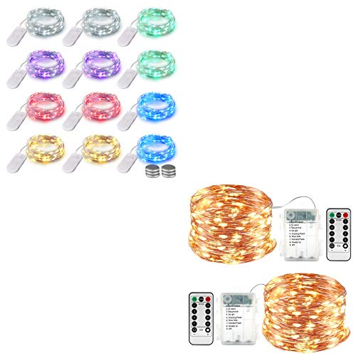 Lyhope 12 Pack 7.2ft Battery Operated Fairy String Lights 20 LED (Six Color)& 2 Pack 33ft 100 Led Fairy Lights (Warm White)
