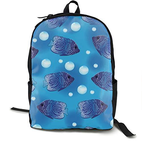 Patrón sin Fisuras de pez ángel, Fondo Submarino Mochila Escolar de Moda para niños Mochila Impresa en el Espacio del Universo para niños Adolescentes Regreso a la Escuela