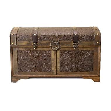 Nostalgic Medium Wood Storage Trunk Wooden Treasure Chest