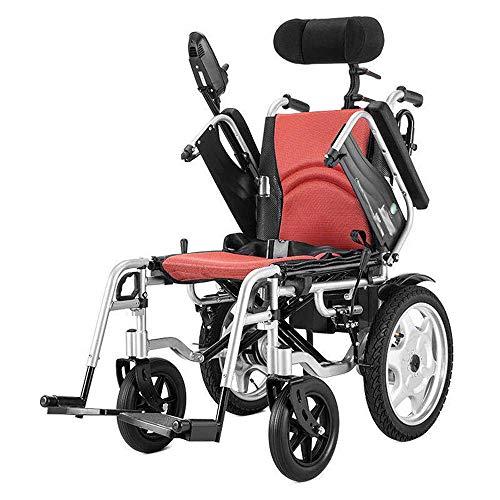 Silla de ruedas eléctrica de alto rendimiento con reposacabezas, portátil plegable, alimentada por energía eléctrica o utilizada como silla de ruedas manual para personas mayores discapacitadas