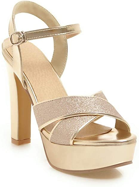 Details about  /Womens Sequins Ankle Straps Chunky High Heels Platform Pumps Shoes Wedding New