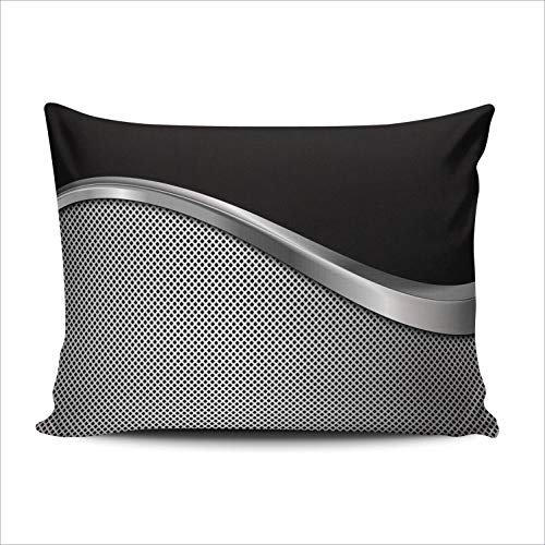 WULIHUA Pillow Covers Silver and Black Metallic Sofa Durable Modern Pillow Case Decorative Custom Throw Pillow Cases one Side Printed Boudoir 12x18 Inches