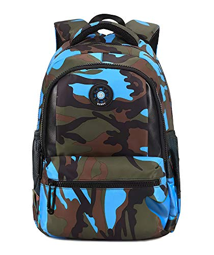 FNTSIC Cool Camouflage School Bags Children Backpacks Large Capacity Lightweight Shoulder Bags for Teenage Boys and Girls (Camo Blue)