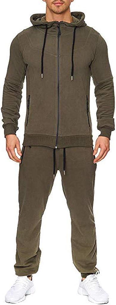 Two Piece Suit Sports Suit Tracksuit Men's Autumn Print Zipper Sweatshirt Hooded Top Pants Sets