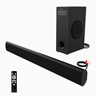 Soundbar with Subwoofer meidong TV Sound Bar with Sub Wired and Wireless Bluetooth Audio Home Theater System for TVs (2.1 Channel, 70W, 37 Inch, Wall Mountable, Remote Control, Model KY 2022 SUB)