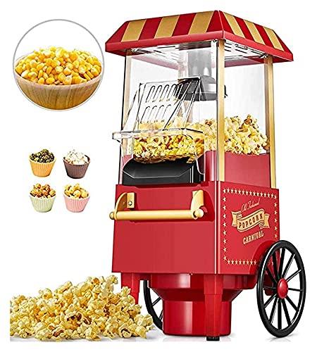Máquina de fabricante de palomitas de maíz, creador de palomitas eléctricas de aire caliente de carro retro fácil de hacer muy fáciles de hacer bocadillos bajos en calorías (Size : 46x25x28cm)