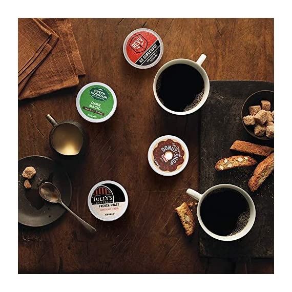 Keurig k-cup pod variety pack, single-serve coffee k-cup pods, amazon exclusive, 72 count 8 includes: 3 k-cup pods from 20 popular varieties, including green mountain coffee breakfast blend, the original donut shop regular, newman's own organic special blend, caribou coffee caribou blend, tully's coffee italian roast, and many more variety: sample different coffees and discover your favorites from a wide variety of roasts, flavors, and brands compatibility: contains authentic keurig k-cup pods, engineered for guaranteed quality and compatibility with all keurig k-cup coffee makers