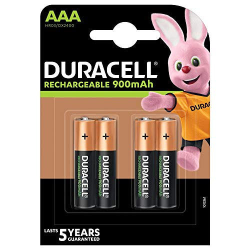 Duracell Recharge Ultra Piles Rechargeables type AAA 900 mAh, Lot de 4 piles