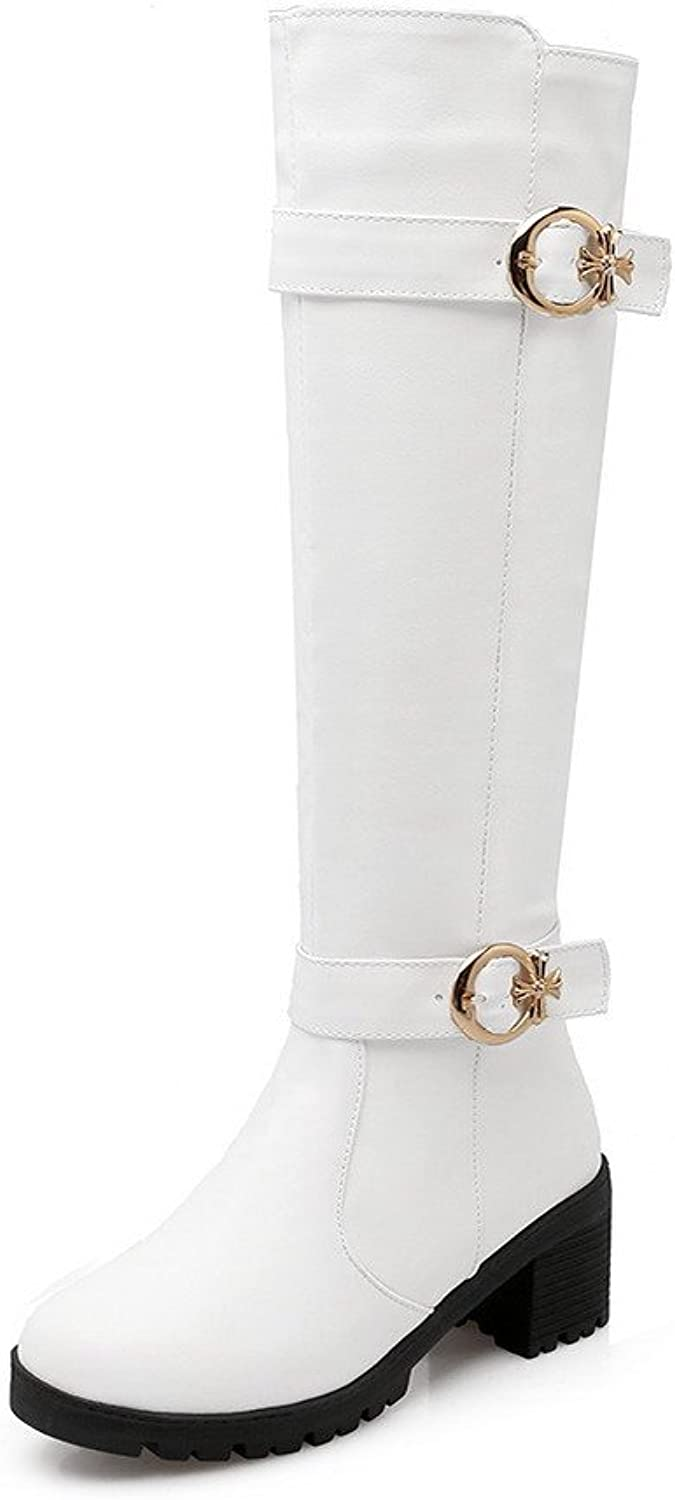 WeenFashion Women's Kitten-Heels Soft Material High-top Solid Zipper Boots