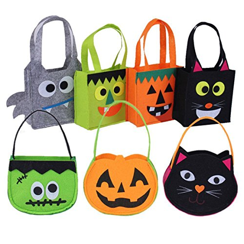 NIGHT-GRING Set of 7 Halloween Party& Holiday Trick-or-Treat Tote Bag/ Halloween Candy Totes Bag/ Costume Accessory Totes Bag