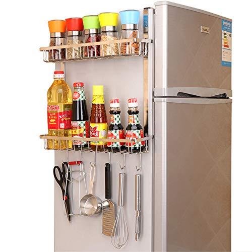 TZAMLI Estantería de acero inoxidable para frigorífico, para especias, con 2 cestas, para colgar en la cocina, para ahorrar espacio (plata, B-2 niveles)