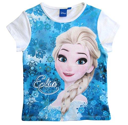 Frozen - Die Eiskönigin T-Shirt Mädchen Anna und ELSA Disney (Weiß-Blau, 104)