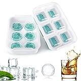 Housolution Bandeja para Cubitos de Hielo, 6 Unidades por Cada Moldes con Tapa de Silicona Grado Alimenticio Fácil de Desmoldar Contenedor sin BPA...