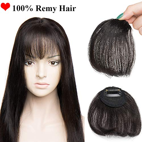SEGO Clip in Air Pony Echthaar Bangs One Piece Haarteil In Front Hair Stirnfransen Extension Fringe natürliche 100% Remy Haar Air Pony ohne Tempel-4g Naturschwarz#1B