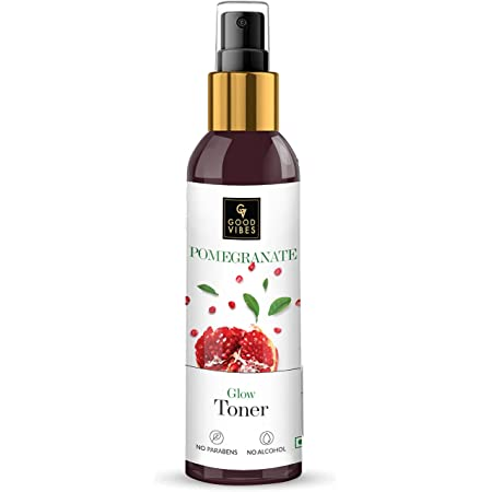 Good Vibes Pomegranate Glow Toner 120 ml, Anti Ageing Hydrating Light Weight Moisturizing Face Spray Toner for All Skin Types, Natural, No Alcohol, Parabens & Sulphates, No Animal Testing