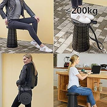 Timertick Tabouret Pliant Portable Chaise Pliante Télescopique, Jusqu'à 150 kg Hauteur Réglable de 6,5 à 47cm, pour la Cuisine Intérieure de Barbecue de Pêche en Camping en Plein Air (Noir)
