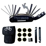 DAWAY B32 Bike Repair Tool Kits - 16 in 1 Multi function Bicycle Mechanic Fix Tools Set Bag, Glueless Tire Tube Patches & Tire Levers Included, Practical Xmas Thanksgiving Birthday Gift