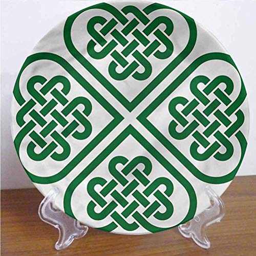 Channing Southey 6 Inch Celtic Ceramic Dinner Plate Monochrome Clover Art Tableware Plate Ceramic Ornament Decor Accessory for Home&Office Wall Decors Family Sentiment