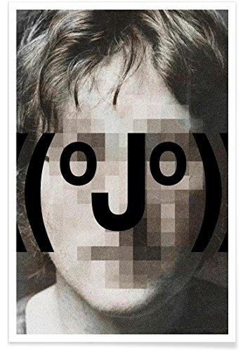 Juniqe® Affiche 30x45cm Pop Art The Beatles - Design Retro Pop Emoticons John (Format : Portrait) - Poster, Tirages d'art & Tableaux par des Artistes indépendants créé par Butcher Billy