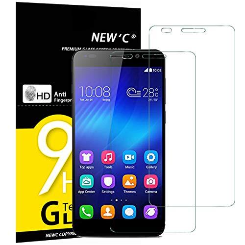 NEW'C 2 Pezzi, Vetro Temperato Compatibile con Huawei Honor 6, Pellicola Prottetiva Anti Graffio, Anti-Impronte, Durezza 9H, 0,33mm Ultra Trasparente, Ultra Resistente