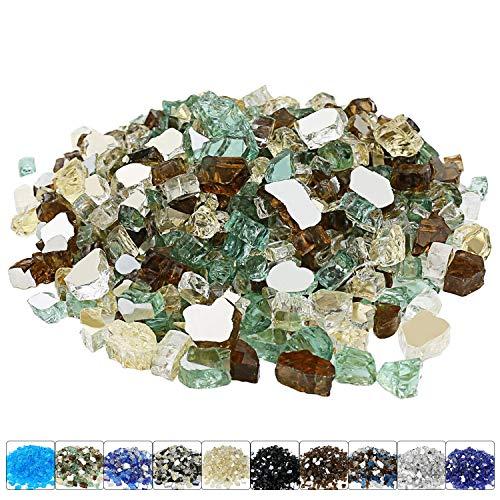 Hisencn 1/2 Zoll Feuerglas für Feuerstelle, hochglänzendes Mischglas für Propangaskamine, Feuerschalen für Innen- und Außenbereich, Gartenlandschaft, Gold, Grün, Kupfer reflektierend, 4,5 kg