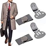 Upgraded Magnetic Tie Clips Automatically Fixed Stainless Steel Metal Magnetic Tie Clips for Men Invisible Magic Tie Stay Clips, (4pcs)