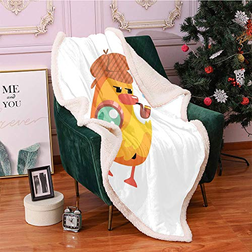 SeptSonne Cartoon Sherpa Fleece Blanket,Private Detective Duckling Character with a Magnifying Glass and Pipe Duck Sherlock Digital Printing Blanket,Sofa,Soft Cozy Throw Blanket(40x50,Multicolor)