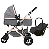 Premium 3-in-1 Stroller Lightweight Baby Stroller Over Sized Storage Basket Blanket Boot (Grey, YES Include CAR SEAT)