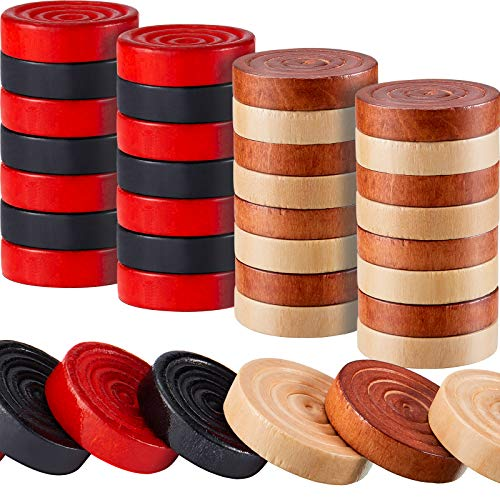 48 Pieces Wooden Checkers 1.06 Inch Wooden Checkers Pieces with Stackable Ridge in Drawstring Storage Pouch (Dark Brown, Natural Color)