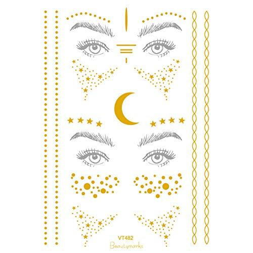 kashyk Temporäre Klebe-Tattoos Körper Tattoos mit Halloween Motiven,Metallic Flash Tattoos in Silber & Gold für Frauen Jugendliche Mädchen Body Art