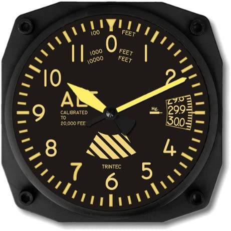 Trintec Vintage Altimeter Altitude Our shop OFFers the best service Wall Square 9060V 6.5 Clock 2021 spring and summer new