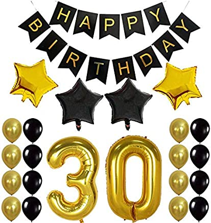 30 Party Decorations Kit-Happy Birthday Banner, 30th Balloons,Gold and Black, Number 30,30th Birthday Decorations Gifts Party Supplies for Him/Her