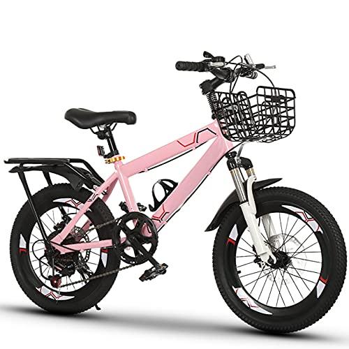 NCBH Bici per Bambini 18/20/22 Pollici, Bici da Montagna a velocità variabile,Bicicletta per Bambini con Sedile Regolabile, con portabicchieri, luci Posteriori Riflettenti e Cestino,Pink a,20 inch