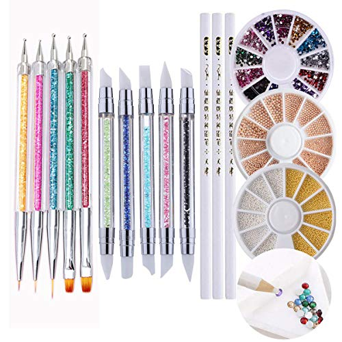 Nail Art Tools Acrylic Nail Brush 23 Pcs Rhinestone Picker Wax Pencil Tips Dotting Pens Nail Liner Brushes and 6000 Nail Stone Gems UV Gel Painting Pick up Pen Accessories for Manicure