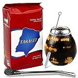 Juego de té mate: Yerba Mate Taragui con palo, 1 kg, vaso mate de calabaza (color leopardo), hecho a mano, de ternero, pajita mate de acero inoxidable, bombilla y cepillo de limpieza