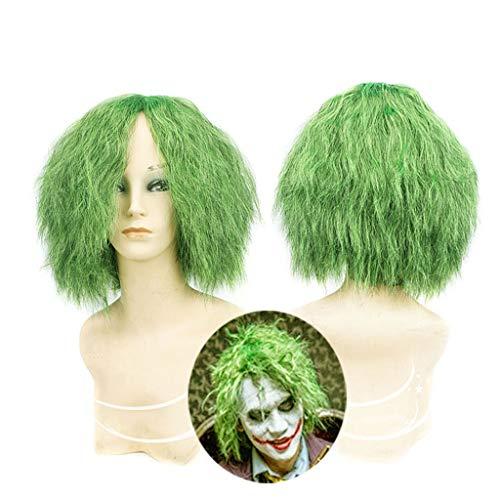 Peluca de Joker - Pelucas rizadas pequeñas de color verde Batman Dark Knight, Disfraz de peluca de disfraces de Halloween Peluca