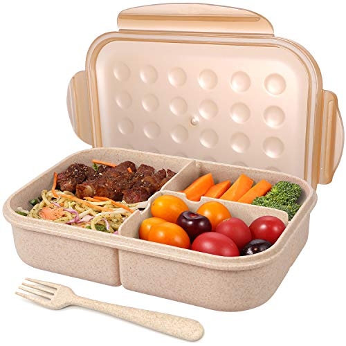 Bento Box for Adults Lunch Containers for Kids 3 Compartment Lunch Box Food Containers Leak Proof Microwave Safe(Flatware Included, Champagne)