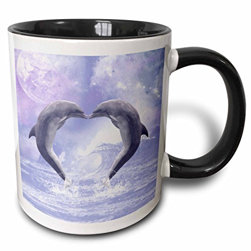3dRose Kissing Dolphins Forming A Heart in A Purple Ocean Two Tone Mug, 11 oz, Black