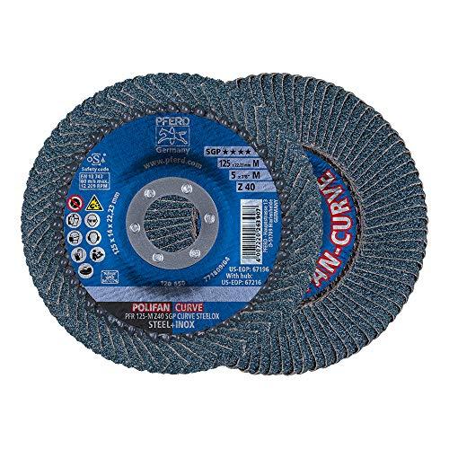 PFERD Polifan Curve 69398197 Lot de 2 disques à lamelles Ø 125 mm, largeur M (11 mm), Z40, SGP...