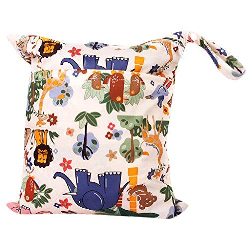 Baby Wickeltaschen Wasserdichtem Reißverschluss Wiederverwendbare Stoff Windel Tasche Snap Tote Bunten Dschungel Tiere Muster