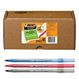 BIC Round Stic Xtra Life Ballpoint Pen, Medium Point (1.0mm), Black/Red/Blue -- Box of 240 Assorted Ball Pens (GSM240-AST)