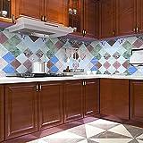 Papel Pintado Cocina Color a cuadros60X500cm Autoadhesivo Papel de Pared Vinilo Impermeable a Prueba Aceite para Muebles