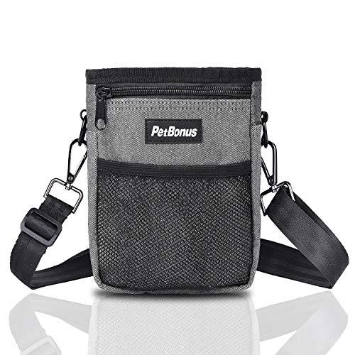 PetBonus Denim Dog Treat Pouch, Dog Training Bag with Built-in Poop Bag Dispenser, Easily Carries Pet Toys, Kibble, Snacks, 3 Ways to Wear (Grey)