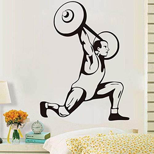 BailongXiao Home Decoration Selbstklebende Vinyl Gewichtheben Wandaufkleber Sport Player spezielle Dekoration für Wohnzimmer Abziehbilder