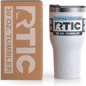 RTIC Vaso de viaje aislado, taza de acero inoxidable, bebidas calientes o frías, con tapa a prueba de salpicaduras, 30 onzas, color blanco