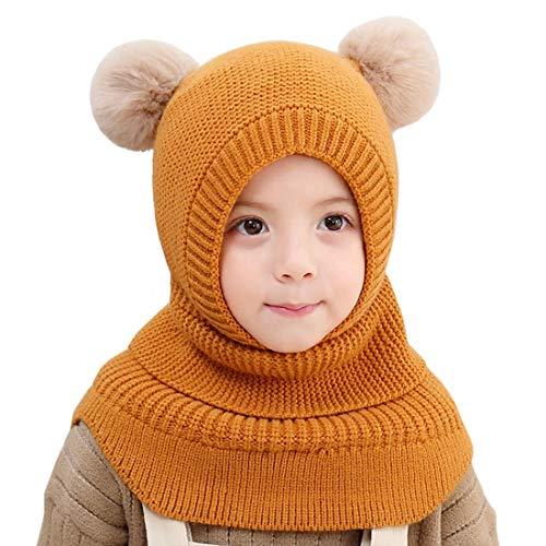 YONKINY Kinder Mädchen Wintermütze Warm Niedlich Schlupfmütze mit Bommel Beanie Strickmütze Schalmütze Fleece Mütze (Gelb)