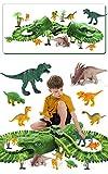 Fiouni - Giocattoli da corsa con dinosauri per ragazzi, 153 pezzi flessibili per trenino con auto da corsa militare/8 dinosauri giocattolo, perfetto come regalo di compleanno per bambini 3 4 5 6 anni