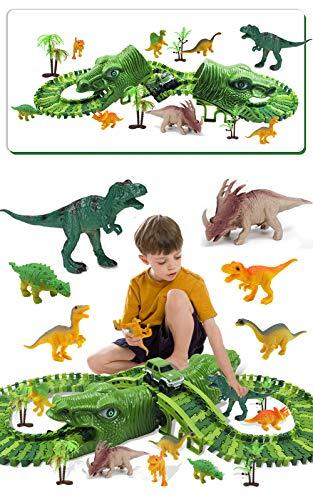 Fiouni Dinosaurier Rennstrecken Spielzeug für Jungen, 153 Stück Bahngleis Spielset mit einem Militärischen Rennwagen / 8 Spielzeugdinosaurier, Geburtstagsgeschenke für 3 4 5 6 7 Jahre alte Jungen