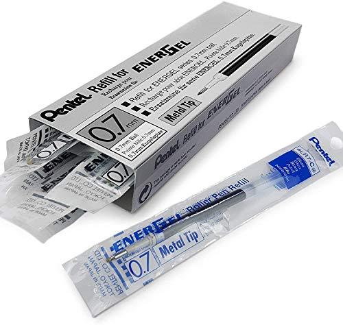 Pentel - Confezione da 12 ricariche Energel con punta metallica, 0,7 mm, LR7, perEnerGel XM, BL77, BL57, BL37, colore dell'inchiostro: blu